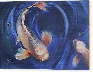 Wood Print featuring the painting Koi by Donna Tuten