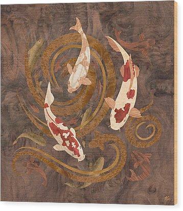 Koi Fish Wood Art Wood Print by Vincent Doan