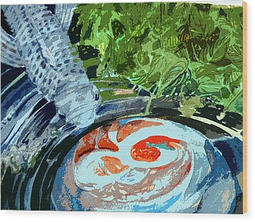 Koi Garden Wood Print by Mindy Newman