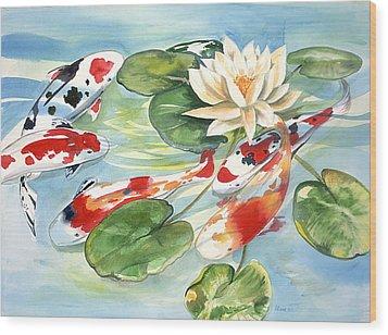 Koi In The Water Lilies Wood Print by Ileana Carreno
