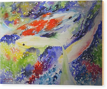 Koi Wood Print by Joanne Smoley