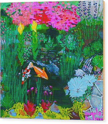 Koi Pond Wood Print by Angela Annas