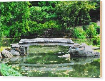 Koi Pond Bridge - Japanese Garden Wood Print by Bill Cannon