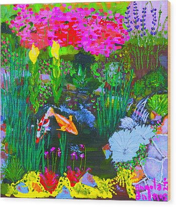 Koi Pond I Wood Print by Angela Annas