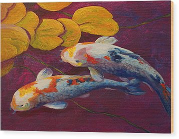 Koi Pond II Wood Print by Marion Rose