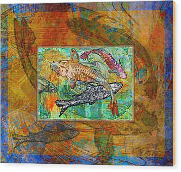 Koi Pond Wood Print by Mary Ogle