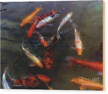 Koi Pond Watercolor Wood Print by Fred Jinkins