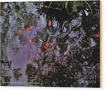 Koi Reflections Evening Wood Print by Jamey Balester