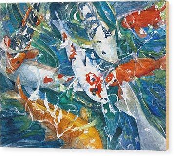 Koi Sparkle Wood Print by Patricia Allingham Carlson