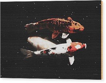 Wood Print featuring the photograph Koi Trio  by Deborah  Crew-Johnson