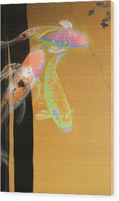 Koi Vi Yellow Wood Print