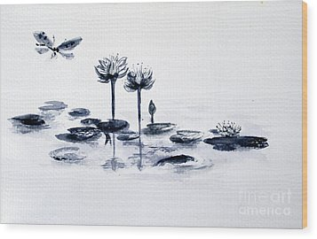 Koi With Waterlilies And Flutterby Wood Print by Sibby S