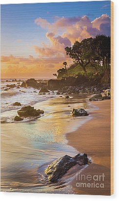 Koki Beach Sunrise Wood Print by Inge Johnsson