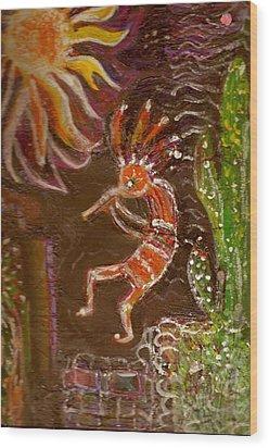 Kokopelli And The Sunny Moon Wood Print by Anne-Elizabeth Whiteway