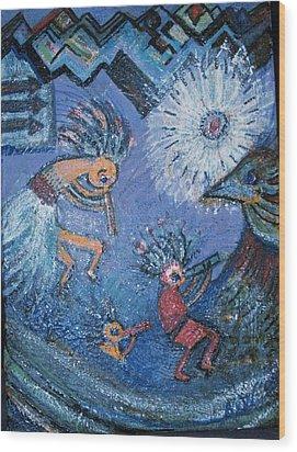 Kokopelli Dancers And Big Bird Wood Print by Anne-Elizabeth Whiteway