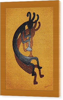 Kokopelli Golden Harvest Wood Print
