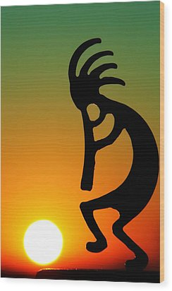 Kokopelli Wood Print by Mitch Cat