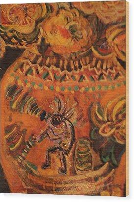 Kokopelli On Ornate Vase Wood Print by Anne-Elizabeth Whiteway