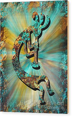 Kokopelli Turquoise And Gold Wood Print