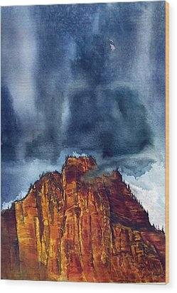 Kolob Thunderstorm Wood Print by Russell Cornelius