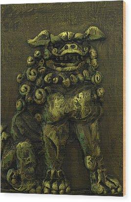 Komainu Guardian Wood Print by Erik Pearson