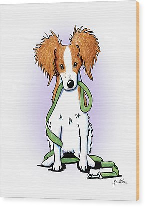 Kooikerhondje With Leash Wood Print by Kim Niles