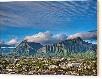 Wood Print featuring the photograph Koolau And Pali Lookout From Kanohe by Dan McManus