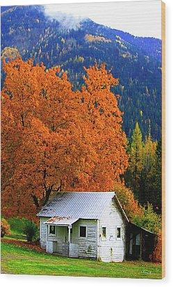 Kootenay Autumn Shed Wood Print