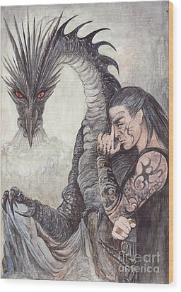 Kor-gat And Black Dragon Wood Print by Morgan Fitzsimons