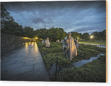 Wood Print featuring the photograph Korean War Memorial by David Morefield
