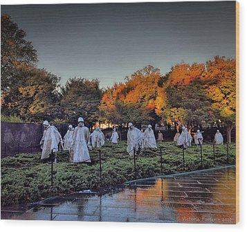 Korean War Memorial In Washington Dc Wood Print