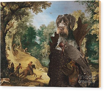 Korthals Pointing Griffon Art Canvas Print - The Hunters And Lady Falconer Wood Print
