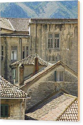 Kotor Rooftops Wood Print