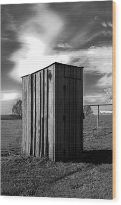 Koyl Cemetery Outhouse Wood Print by Curtis J Neeley Jr