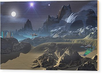Krill City Stardock. Wood Print by David Jackson