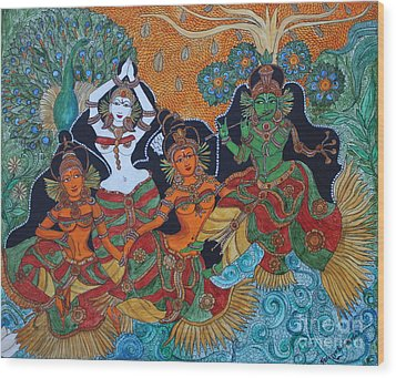 Krishna And Gopika Wood Print