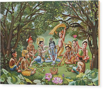 Krishna Eats Lunch With His Friends With No Bordure Wood Print by Dominique Amendola