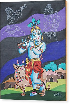 Wood Print featuring the painting Krishna's Musical Harmony by Ragunath Venkatraman