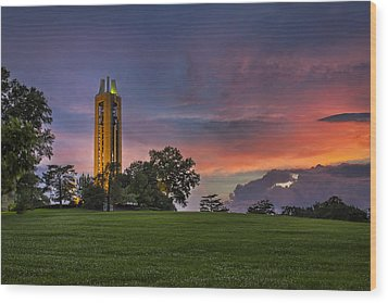 Ku Campanile Wood Print by Thomas Zimmerman
