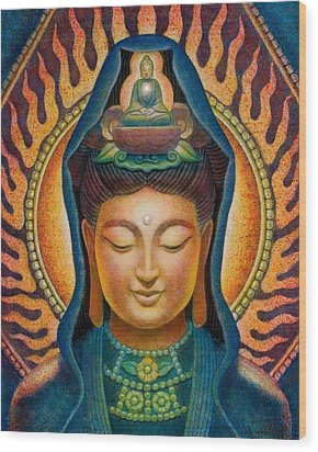Kuan Yin Flame Wood Print by Sue Halstenberg