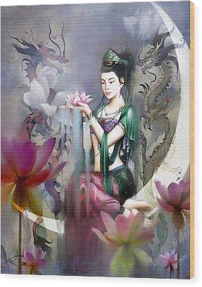 Kuan Yin Lotus Of Healing Wood Print by Stephen Lucas