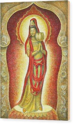Kuan Yin Lotus Wood Print by Sue Halstenberg