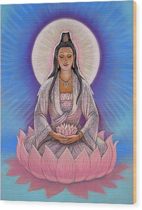 Kuan Yin Wood Print by Sue Halstenberg