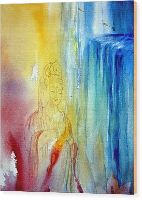 Kuan Yin Wood Print by Wendy Wiese