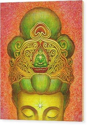 Kuan Yin's Buddha Crown Wood Print by Sue Halstenberg