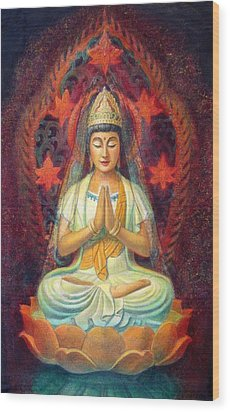 Kuan Yin's Prayer Wood Print by Sue Halstenberg