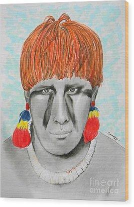 Kuikuro From Brazil -- Portrait Of South American Tribal Man Wood Print