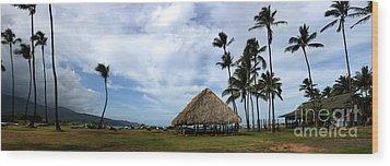 Kukulu Hale Kahului Maui Hawaii Panorama Wood Print by Sharon Mau