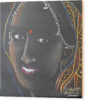 Kumkuma -- Close-up Portrait Of Indian Woman Wood Print