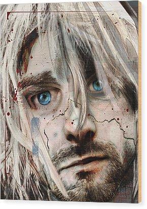 Kurt Cobain - Verse Chorus Hearse Wood Print by Sam Kirk
